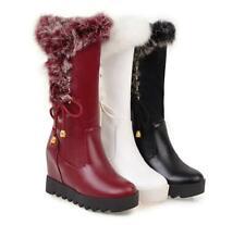 Hot Womens Winter Warm Fur Mid Calf Boots Hidden Wedge Heel Platform Shoes Vogue