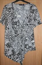 Amelia Classics Black & White Animal Print Crossover Detail Top size XL