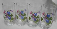 AVON WILD VIOLETS  4 GLASSES TUMBLERS WATER WALSH VINTAGE FLOWERS PURPLE