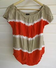 Bardot Women's Beige White & Orange Stripe Short-Sleeve Top - Size 8