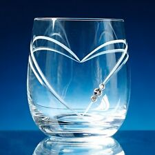 Diamante Crystal Heart Whisky Glass Engraved Personalised Any Message or Name