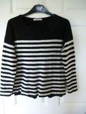 Marks & Spencer Ladies 100% Cashmere Slush Neck stripy oversized Jumper 12-14