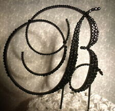 "Handmade Black Crystals 5""  Wedding Cake Topper Monogram Letter ""B"""