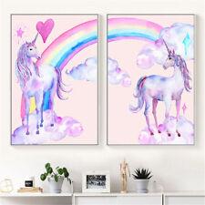 Unicorn Rainbow Canvas Poster Art Print Kid Children Living Room Home Decor