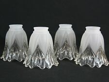Set of 4 Light Shades Frosted over Clear Glass Ceiling Fan Chandelier Wall Sconc