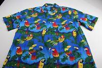 Pacific Legend Made Hawaii Bold Parrot Bird Floral Ctn Hawaiian CAMP SHIRT 2XL