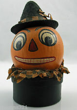 Halloween Paper Mache Hand Painted Candy Container Decoration Jack German Style