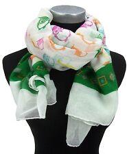 Schal Eule Eulenschal bunter Damenschal weiß grün pink orange by Ella Jonte
