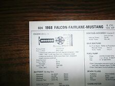1968 Ford Falcon Fairlane Montego & Mustang 200 CI L6 SUN Tune Up Chart Great!
