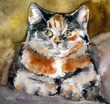 """Rue"" Calico Cat Art print By Karen Lyons Hann 8.5"" X 8"""