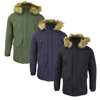 Mens Winter Coat by Tokyo Lee 'Lincoln' Padded Faux Fur Hood Parka Fishtail Size
