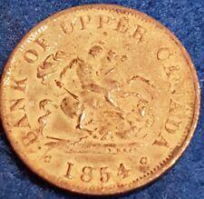 1854 Bank Of Upper Canada Half Penny Token  ID #A10-17
