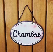 Vintage French Victorian Black White Chambre Sign Metal Bedroom Plaque CLEARANCE