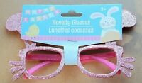 Pink Glitter Easter Bunny Novelty Glasses