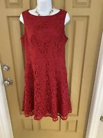 Adrianna Papell Lace Dress Size 8 Red Sleeveless Knee Length Sheath Pockets