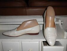"""LNC* Sz 7 ENZO; Ivory Leather w Woven Design 1/2"""" Heel Slip-On Loafer Shoes"""