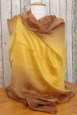 Schal Seide sonnen gelb dip dye Seidenschal Tuch Stola Schultertuch Pashmina NEU