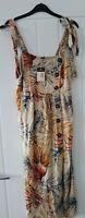 Primark Leaf Print Button Beige Midi Dress Size 8 BNWT