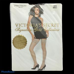 NOS Vtg Victorias Secret Signature Gold Collection Vitality Stockings Mink Sz S