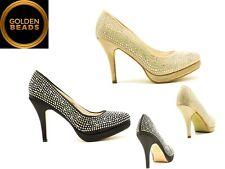Mujeres Señoras Diamante Taco Alto Puntera Redonda Zapatos De Noche Fiesta Boda Nupcial