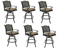 Nassau bar stools set of 6 swivel cast aluminum outdoor patio furniture