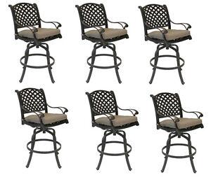 Nassau bar stools set of 6 swivel cast aluminum outdoor patio furniture