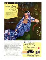 1946 Pin-up woman Solitair make-up fashion lipstick vintage photo Print Ad ads14