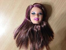 Barbie Doll Fashionista Sassy Teresa Head Brunette Purple Sparkle Hair Streaks