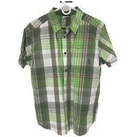 Columbia Mens L Large Green Plaid Short Sleeve Button Up Shirt Adult Casual