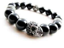 Ónix Pulsera Bolas de Acero Inoxidable Calavera Mujer Hombre 12mm Perlas