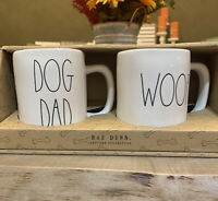 Rae Dunn - DOG DAD and WOOF - White LL Ceramic Coffee Mug Gift Set of 2