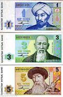 Kazakhstan 1993 >  1, 3, 5 Tenge, 1st Independent Issue, Banknote set UNC