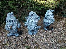Three Working Gnomes/Dwarfs concrete garden ornament