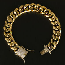Miami Cuban Link Chain Bracelet 14k Gold Plated Stainless Steel Diamond Clasp