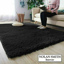 Fluffy Rugs Black 200x290cm Anti Slip Shaggy carpet Mat Living Room Floor