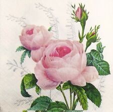 3 x Single SMALL Paper Napkins For Decoupage Pink Rose Flowers S213