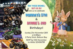 Personalised Twins / Joint Monster Trucks & Peter Rabbit 2 Birthdays Invitations