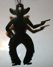 "Cowboy with Gun - Metal Silhouette - 4"" X 3"" - Handcrafted Ornament NEW!"