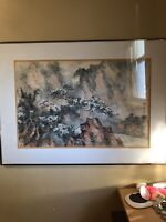 CHINESE ASIAN MOUNTAIN/Trees-Birds LANDSCAPE WATERCOLOR PAINTING,SIGNED FRAMED