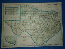 Vintage 1935 State & County MAP TEXAS Old Original Folio Size Atlas Map