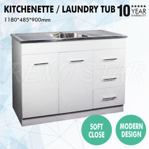 1180*485*900mm Laundry Tub Kitchenette Stainless Steel Sink PVC Cabinet