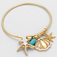 Starfish Bracelet Charm Hinge Bangle Sea Shell Pearl GOLD Surfer Beach Jewelry