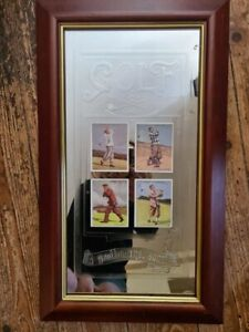 Display Piece 1930's Golf Cigarette Cards on Gold Plaque In Frame.