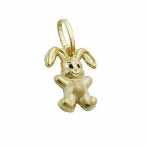Pendant 11x9mm Rabbit Matte Glossy 9Kt Gold