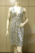"$$$ BCBG SILVER ""SQN64754"" TIE SEQUINED WOVEN DRESS NWT M"