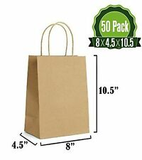Brown Paper Gift Kraft Bags Bulk Twist Handles 50Pcs Durable Multiple Uses New