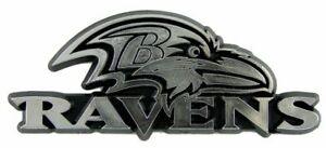 Baltimore Ravens 3D Emblem Raised Chrome Color Die Cut Auto NFL Decal Sticker