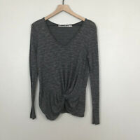 Michael Stars Anthropologie Knot Front Long Sleeve Gray Space Dyed Top One Size