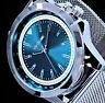 Excellanc Herren Mesh Milanaise Armband Uhr Türkis Blau Silber