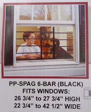 6-Bar Adjustable 23-3/4 in. to 42-1/2 in Horizontal Window Security Guards Black
